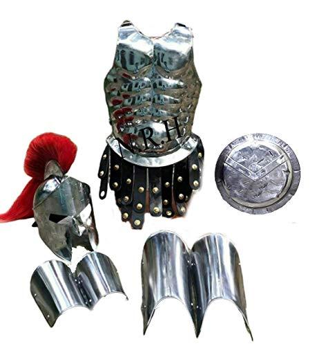 Nautical Replica Hub Medieval Armor King Spartan 300 Helmet WRed Plume Muscle Jacket Leg Arm Guards Shield 18 Gauge Steel