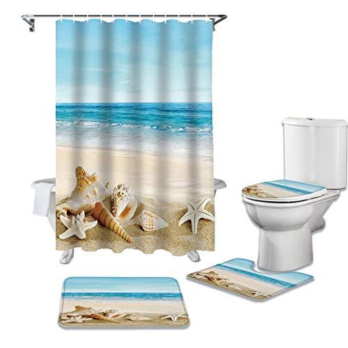 ZHEBEI Duschvorhang mit Seestern & Muscheln & Sommer-Aufdruck, Badewannen-Dekor-Teppich, wasserdicht, Badezimmer-Vorhang, WC-Deckel-Matten-Set
