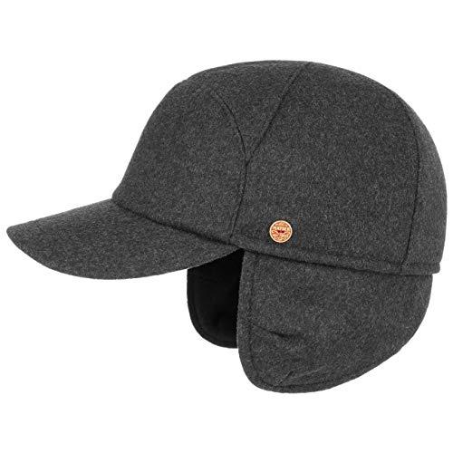 Mayser Premium Ohrenwärmer Baseballcap Damen/Herren - Made in The EU Wollcap Sportkappe Basecaps mit Schirm, Ohrenklappen, Futter Herbst-Winter - 62 cm anthrazit