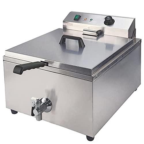 T-CAT Freidora eléctrica de acero inoxidable, recipiente de 30 l, freidora gastronómica 3000 W, 16 litros, grifo de drenaje con cesta