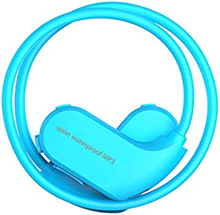 Iycorish Memory 8Gb Head-Mounted Swimming Mp3 Earphone Diving Waterproof Sports Mp3 Player New Head-Mounted Sports Waterproof Mp3 Blue