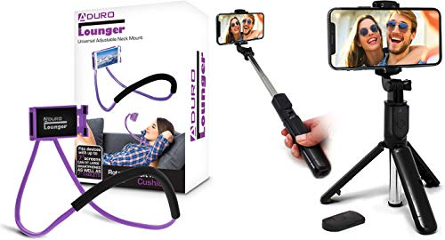 Aduro Phone Neck Holder, Gooseneck Lazy Neck Phone Mount, (Purple) Bundle with U-Stream Selfie Stick Tripod Extendable with Bluetooth Remote, All for iPhone/Android Smartphone