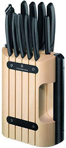 Victorinox 6.7153.11 - Ceppo di 11 coltelli da cucina professionali, manico in nylon, colore: Nero