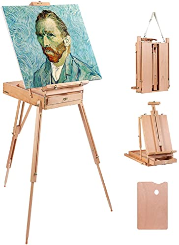 Louise Maelys Easel for Painting Canvases Portable Artist Easel Stand with Sketchbox Adjustable to 72'' Height French Style Tripod Wooden Easel for Studio, Painting & Sketching