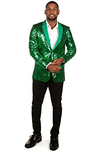Tipsy Elves' Men's Green Allover Sequin Blazer - Bright Shiny Holiday New Years Ever Jacket Size 46