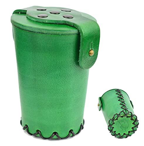 World of Dice Cubitera hecha a mano de piel auténtica, con cierre, para dados, color verde