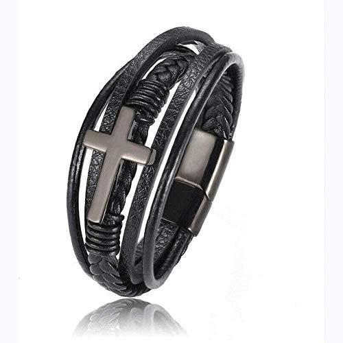 SkirtCP Pulsera de piel auténtica de primera calidad para hombre en negro, cierre magnético de acero inoxidable, diseño de cruz de lujo para hombre pulsera de cuero