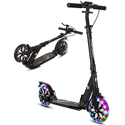 Patinete Adulto Patinete Plegable para Niños Adultos, Jóvenes Scooter LED de Rueda Grande con Freno de Mano y Doble Suspensión, Altura Ajustable, Regalo para Niños y Niñas