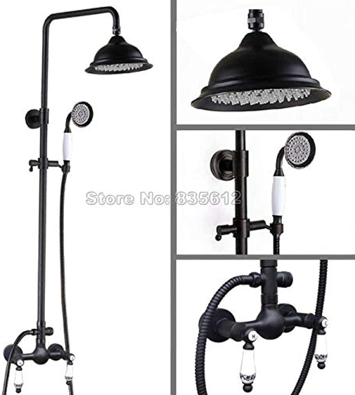 Bathroom schwarz Oil Rubbed Bronze Rainfall Shower Set Faucet + Ceramic Handles Mixer Taps + Handheld Shower Wall Mounted Wrs511,schwarz
