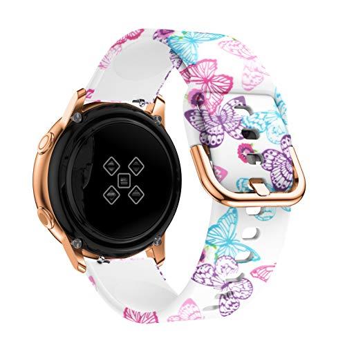 PZZZHF Correa de reloj de 20 mm para Samsung Galaxy Active 2, 3, 41 mm, 42 mm, 40 mm, 44 mm, para Huawei Watch Gt 2, 42 mm, para Amazfit Gts 2 (color de la correa: mariposa, tamaño: Amazfit GTR 42 mm)
