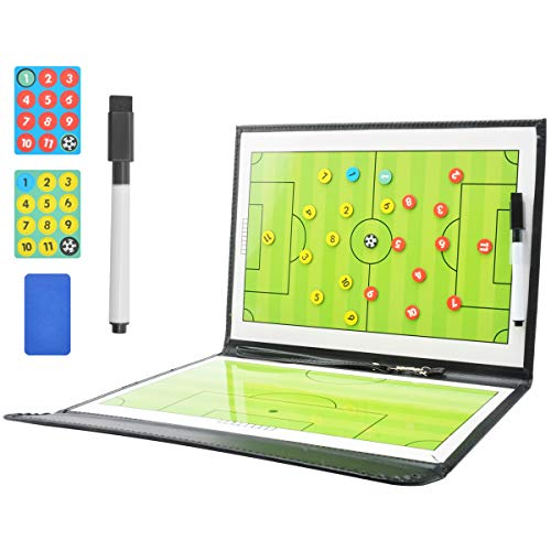 CS COSDDI Coaches Taktiktafel Fussball Coach-Board Profi Taktiktafel mit Stifte, Radiergummi, Magneten,Ideal für Taktiken und Spielanpassungen