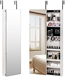 Super*Depot NEX Door Wall Mounted Jewelry Armoire Makeup Storage Organizer with Real Glass Mirror - White