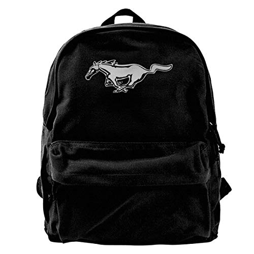 Rucksäcke, Daypacks,Taschen, Canvas Backpack Mustang Unique Print Style,Fits 14 Inch Laptop,Durable,Black