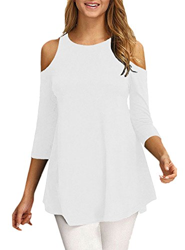 Afibi Womens Cold Shoulder 3/4 Sleeve Swing Tunic Tops for Leggings (X-Large, White)