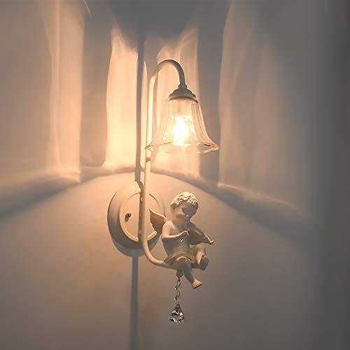 LCSD Lámpara de pared de diseño creativo de ángel, lámpara de pared para habitación de los niños, dormitorio, iluminación de pared, espejo simple, par...