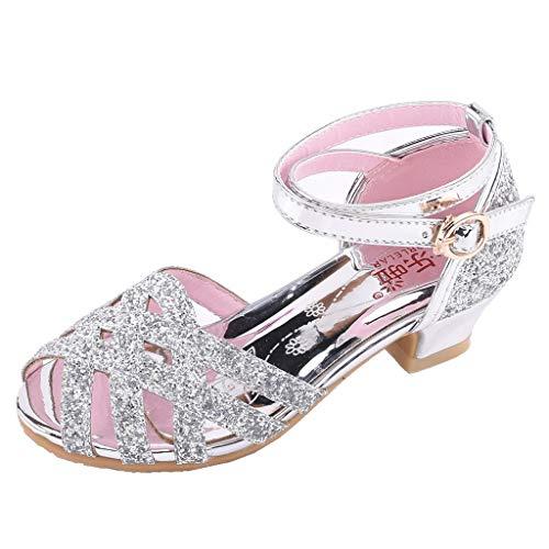 Sandalias Niña Verano 2019 - Talla 26-35 - Zapatos Niña Princesa de Vestir para Fiesta Boda Playa - Zapatos Niña Tacon Brillantina de Baile Latino