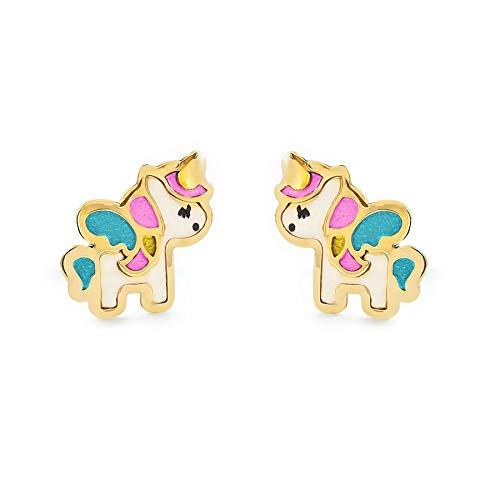 Orecchini per bambini unicorno smaltato - oro giallo 18k (750)