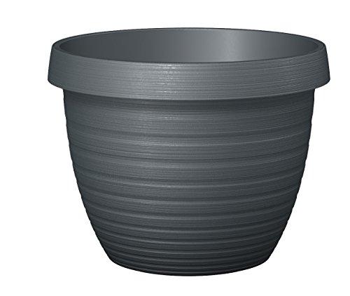 Scheurich Country Star, Pflanzgefäß aus Kunststoff, Metallic Grey, 25 cm Durchmesser, 18,6 cm hoch, 5 l Vol.