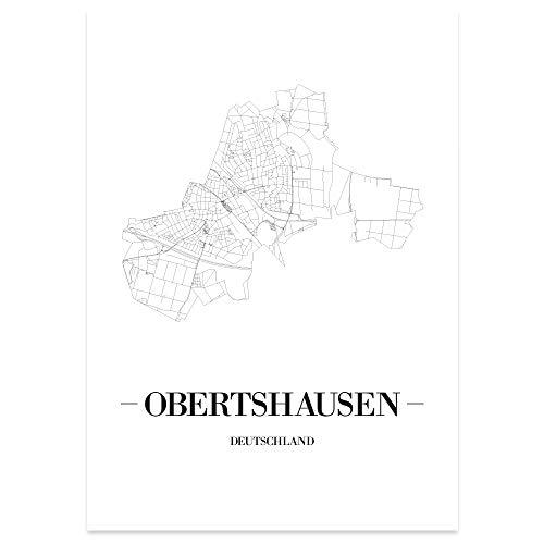 JUNIWORDS Stadtposter - Wähle Deine Stadt - Obertshausen - 60 x 90 cm Poster - Schrift A - Weiß
