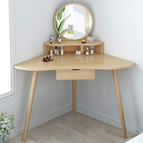 Hoek gebogen dressoir tafel make-up bureau met ronde spiegel, grote lade voor ruime opslag