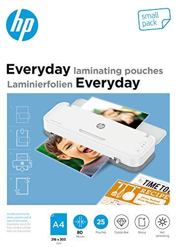 HP Everyday Laminierfolien, DIN A4, 80 Micron, glänzend, transparent, zum Heißlaminieren, Small Pack, 9153
