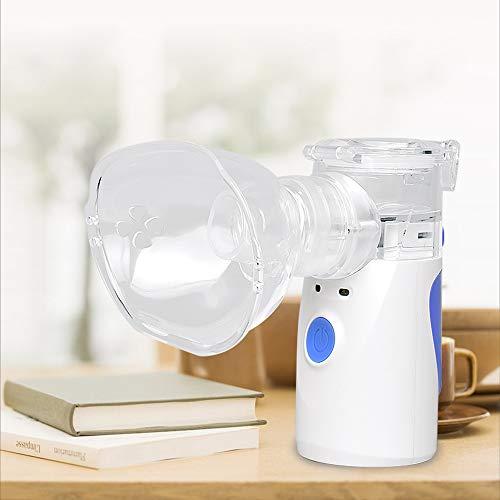Draagbare handheld Cool Mist Vaporizer, Mini Stoom Compressor Inhaler Machine Luchtbevochtiger met 2 Masker voor volwassenen en kinderen Thuis Dagelijkse/Office Gebruik Blauw