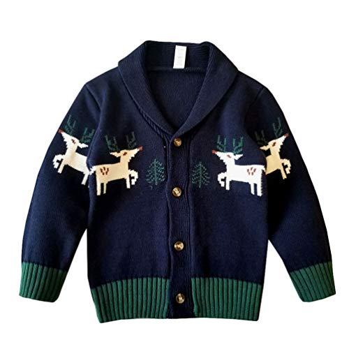YuanDian Bebe Niños Niñas Navidad Tejido De Punto Cárdigan Suéter Ciervo Impresión 100% Algodón Botón Frente Abierto Infantil Rebecas de Punto Navideña Ropa para 70-110cm