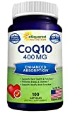 CoQ10 (400mg Max Strength, 100 Veggie Capsules) - High Absorption Coenzyme Q10 Powder - Ubiquinone Supplement Pills, Extra Antioxidant CO Q-10 Enzyme Vitamin Tablets, COQ 10 for Healthy Blood Pressure