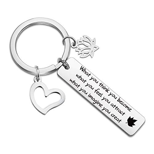 HN HNHB Uplifting Buddhist Gifts Buddha Quote Keychain Lotus Charm What You Think You Become for Buddhist Buddha Fans Yoga Lover