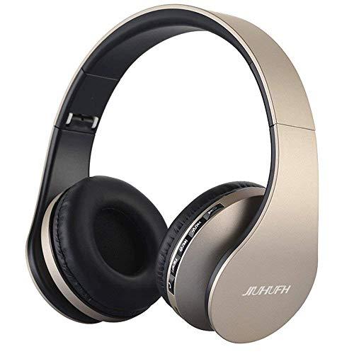 JIUHUFH Bluetooth Kopfhörer On Ear, Wireless Headset Faltbar Kabellose Stereo mit Integriertem Mikrofon/Micro SD/TF/FM Radio/3,5 mm AUX für Handy/TV/PC/Mac - Champagne Gold