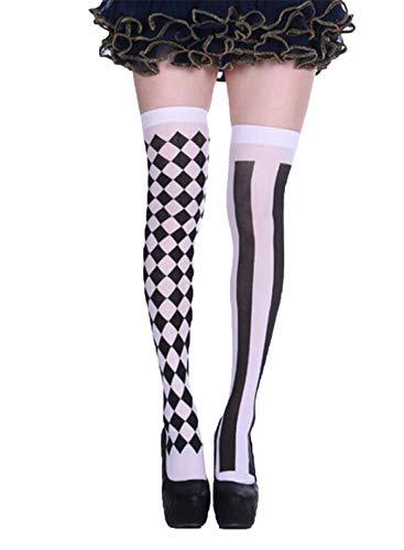 Damen Overknee Lange Socken Oberschenkel Hohe Socken Halloween Cosplay Overknee Strümpfe Festival Strümpfe Gr. Einheitsgröße, Himmelweiß