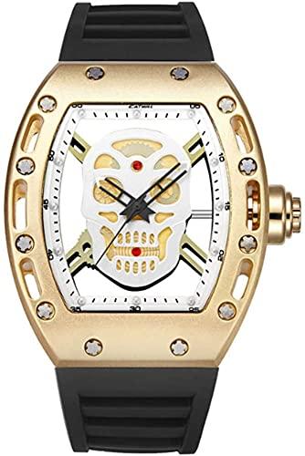 ZFAYFMA Correa clásica de la Correa de la Correa de la Correa de Cuarzo, Reloj Formal de Negocios de Moda Simple Retro de Moda con dial del Calavera, Gold