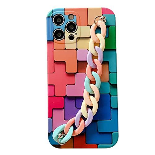 3D colorido cubo banda arco iris pulsera líquido silicona funda Premium teléfono móvil cubierta protectora compatible con todos los iPhones protección completa Anime_iPhone_11Pro_Max