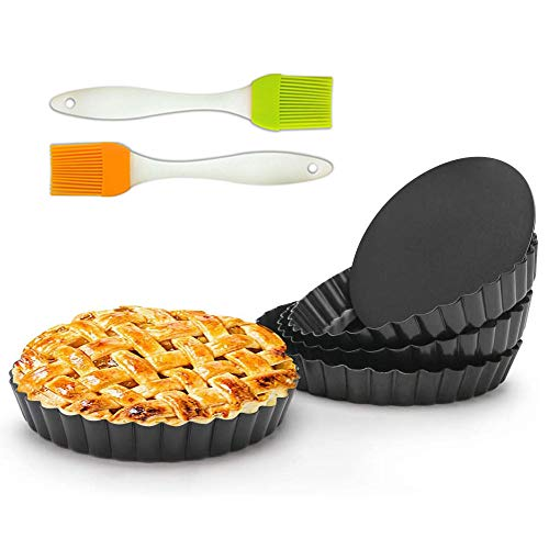 6 Inch Tart Pan 2 Pack Removable Bottom Quiche Pan Non-Stick Pie Tart Baking Dish Pan Carbon Steel Quiche Pan for Kitchen Cooking Baking