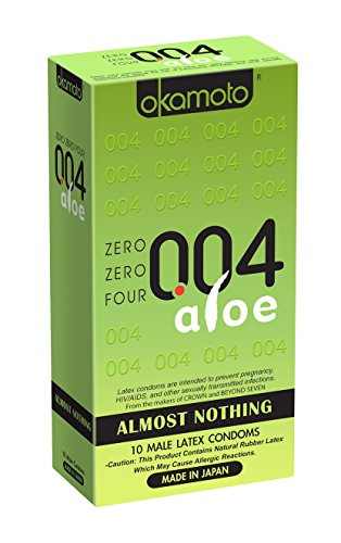 Okamoto Usa 004 Aloe Almost Nothing Condom, 10 Count