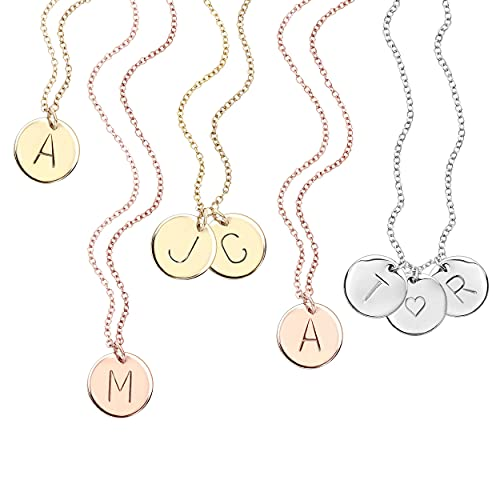 Delicate Initial Disc Necklace Mothers Day Jewelry Graduation Day Gifts Rose Gold Initial Necklace Best Friend Personalized Bridesmaid Gift - CN