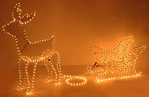 made2trade LED Lichterschlau 3D Rentier mit Schlitten - 14m - IP44 Zertifiziert