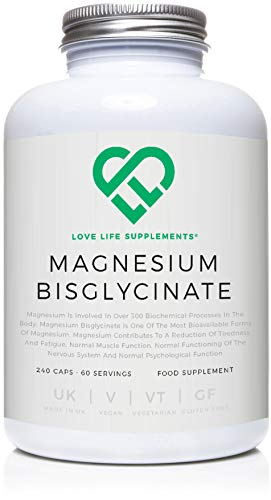 LLS Magnesium Bisglycinate (Chelated) | Zero Bulking Agents | 2500mg (250mg Magnesium) | 240 Capsules / 60 Servings | Highly Bioavailable Form of Magnesium | Manufactured in the UK Under BRC Certification | Love Life Supplements - 'Live Healthy, Love Life.'