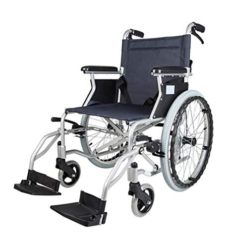 N/Z Living Equipment Wheelchairs Self Propelled Lightweight Folding 20 inch Wheel Mobility Device with Brakes Detachable Armrests Transporation Wheelchairs for Adult Easy Storage Gjd
