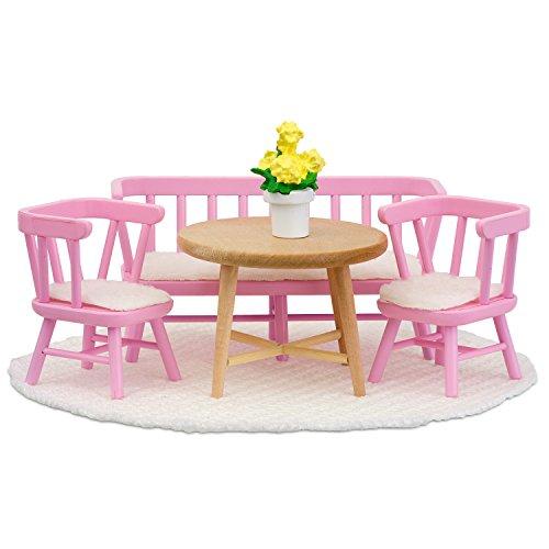 Lundby 60-207900 - Küchenmöbel Puppenhaus - Möbelset 6-teilig - Puppenhauszubehör - Möbel - Küche - Esszimmermöbel - Esstisch - Sitzgruppe - Zubehör - ab 4 Jahre - 11 cm Puppen - Minipuppen 1:18