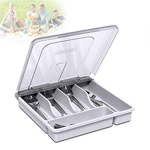 EnweLampi Utensils Organiser Box - 5 Compartment, Plastic Kitchen Storage Tray with Lid, Silverware Cutlery Storage Box, Convenient Knife/Spoon/Fork Separator,White