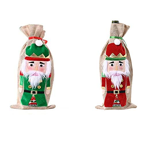 GSDJU Weinflaschen,Flaschenkorb,Rotwein Taschen,6 Stück Weihnachtsweinflaschenset, Weinflaschendekoration, Urlaubsatmosphäre, Weinflaschentasche