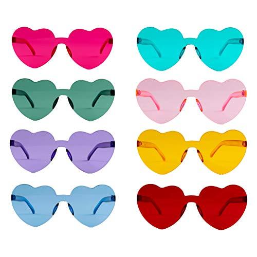 N /A 8 Stück Brille Herz Hippie Brille Retro Kostüm Brille Weihnachten Lustige Spiegel Partybrillen für Geburtstagsfeier Agent Party für Kinder und Erwachsene (Stil A) (Stil A)