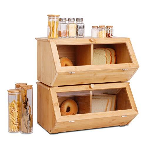 Leader Accessories Cestino per Pane in bambù, Portapane per Il Pane in Legno di bambù da appoggio per Cucina, 39 x19 x 21cm