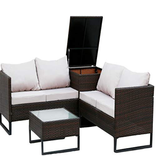 Pieces of Outdoor Patio Furniture Set Wicker Combination Upholstered Sofa Set with Storage Box Glass Coffee Table Gray Cushions 4 White Pillows Garden Set Backyard Lawn