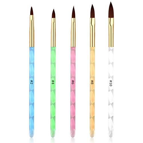 Juego de cepillos de uñas acrílicas de gel UV de 5 piezas para constructor de consejos de uñas y pintura de uñas
