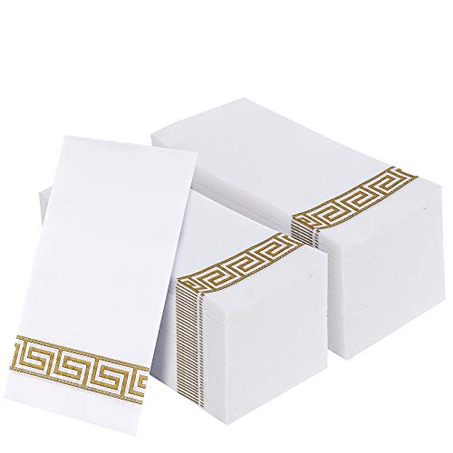 200 PACK Guest Towels Disposable Bathroom, Decorative Bathroom Napkins, Soft and Absorbent Disposable Dinner Napkins Linen Like for Kitchen, Parties, Weddings, Christmas Party(Gold)