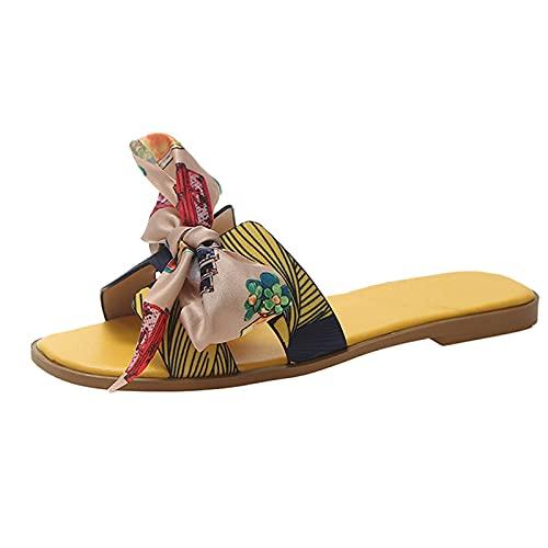 Julhold Sandalen Hauschuhe Leicht Badelatschen Bequeme Frauen Bow Summer Slipper Indoor Outdoor Flip-flops Strandschuhe Weibliche Hausschuhe Sandalen Sommerschuhe Flat Sandal(Gelb,41)