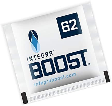 Integra Boost 62 Percent RH - 8 Gram, 2-Way Humidity Control, Small Humidor Packs - Free Reusable Smell Proof Bag (300 Pack)