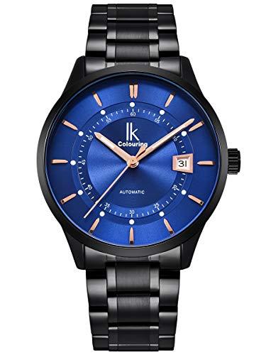 Alienwork Automatikuhr Armbanduhr Herren Damen schwarz Edelstahl Metallarmband Kalender Datum blau